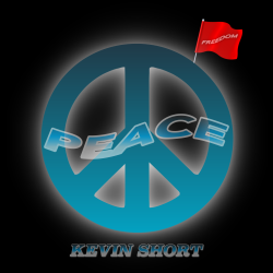 Black background with blue peace symbol and red freedom flag